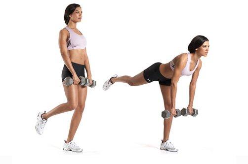 упражнения с гантелями для похудения попы фото